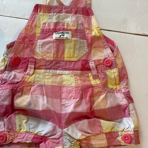 Osh Kosh 18m overalls romper pink yellow check
